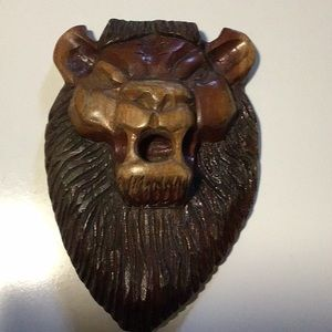 Handmade wood lion head decor